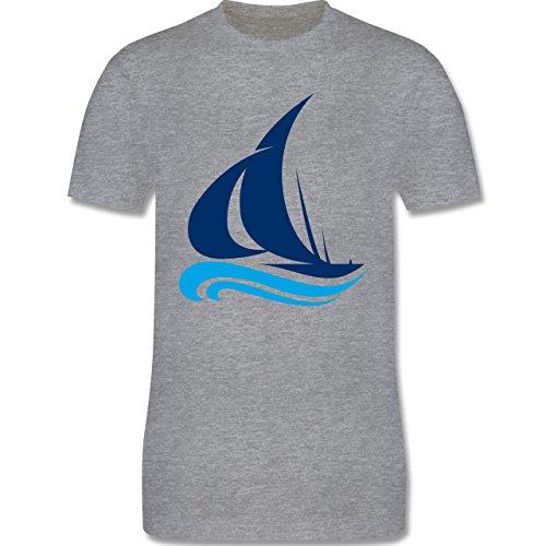 Schiffe - Segelboot - Herren Premium T-Shirt Grau Meliert