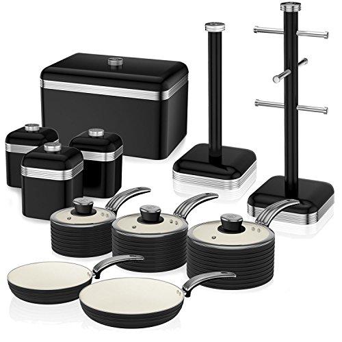 Swan Retro Towel Pole Mug Tree Bread Bin Canister And Cookware Pan Set Black New