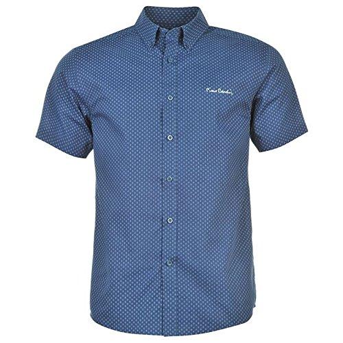 Pierre Cardin camicia uomo a maniche corte chiusura a bottone motivo All Over Marineblau/Weiss Geo XL