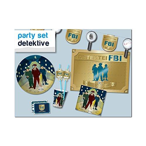 Partyset Detektive für 8 Kinder 69 teilig