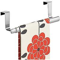 mDesign appendi strofinacci o appendi asciugamani da agganciare – porta asciugamani per cucina senza bisogno di forare il muro – facile montaggio – colore: argento