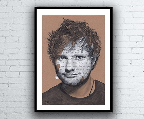 Ed Sheeran Portrait Drawing with Thinking Out Loud lyrics - signed Giclée art print A5 A4 A3 sizes pen painting typography artwork -