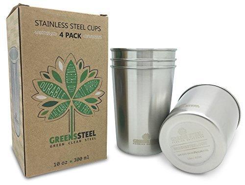 Taza de acero inoxidable de 10 oz/300ml (Paquete de 4) Vasos Copas de Metal Tumbler Apilables Premium width=