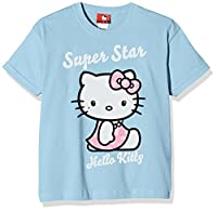 Hello Kitty Girl's Super Star T-Shirt, Blue (Sky Blue), 9-10 Years (Manufacturer Size:Large)