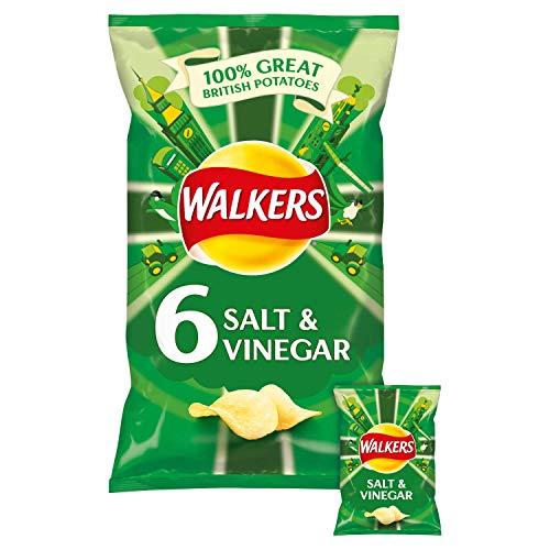 Walkers Salt & Vinegar 6 Pack 6x25g Fresh Taste Guaranteed - unverwechselbar mit echtem britischen Essig