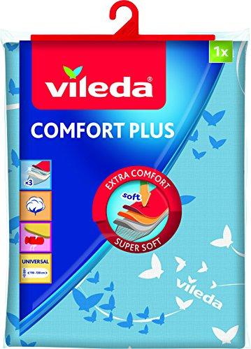 Vileda Comfort Plus Bügelbrettbezug, blau, 3 Lagen, Quick-Fix-System, 30-45 cm x 110-130 cm