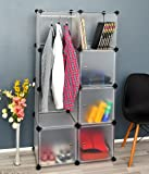ts-ideen Kleiderschrank Kinderschrank Garderobe Flur Dielen Schrank 147 cm Höhe Badschrank in Weiß Transparent