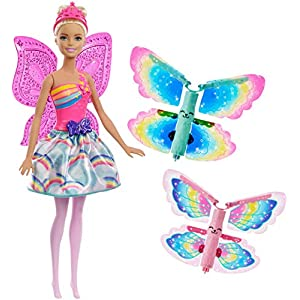 Barbie FRB08 FANTASY Flying Fairy Blonde Flapping Wings, Butterfly, Toy for 2 to 5 Years Children Dolls