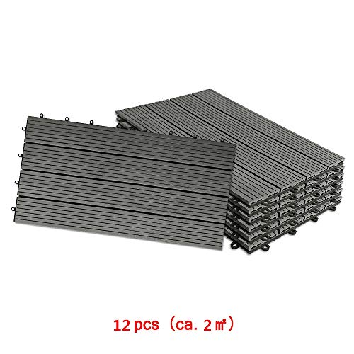 Aufun Fliesen WPC Kunststoff 30x60cm - Terrassenfliesen Balkonfliesen Klickfliese in Holz Optik Anthrazit (12 Stück fur 2m², Anthrazit)