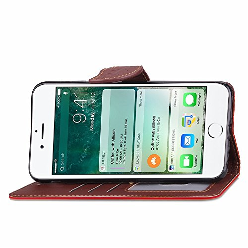 iPhone Case Cover IPhone 7 cas feuille magnetique fermeture motif PU cuir case portefeuille stand pour Apple IPhone 7 ( Color : Red , Size : IPhone 7 ) Red