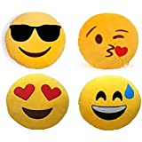 Frantic Premium Quality Cool Dude, Flying Kiss, Happy And Wink Soft Smiley Cushion Size - 35 Set Of 4