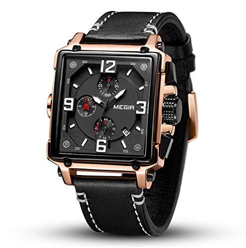 TLgf Herren-Quarzuhr, Retro-Quadrat-Multifunktionsleder mit exquisiter dreidimensionaler Uhr, -