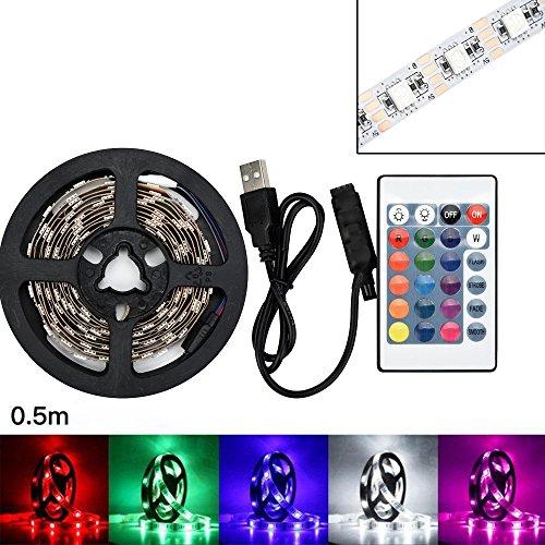 Led Strip USB 5050RGB Led Lichtband Led Band Led Strip TV Back Lampe Farbwechsel + Fernbedienungmit Led Beleuchtung für Fahrzeug/Fahrrad/Haus Deko (50CM) -