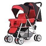 Twin Baby Cart, lo schienale può essere 100 ° -135 ° -170 ° regolato a luce libera pieghevole e piccolo (Color : Black Red)