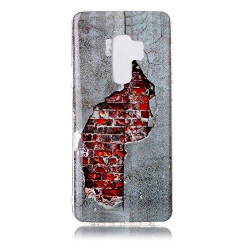 inShang Samsung Galaxy S9+ custodia cover del cellulare, Anti Slip, ultra sottile e leggero, custodia morbido realizzata in materiale del TPU, frosted shell , conveniente cell phone case per Galaxy S9 Brick wall