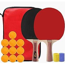 (* 2) Juego de raqueta Bolas de tenis de mesa (* 10) Raqueta horizontal de mango largo