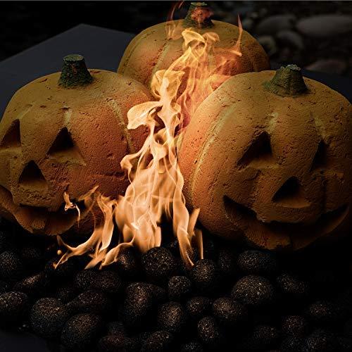 Keramik-Kürbis geschnitzt, feuerfeste Keramik-Dekoration für Feuerstellen und Kamine, Halloween-Dekoration, einzelner Kürbis