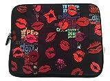 "Besos labios 10""acolchado cremallera Tablet Laptop Case Amazon Fire Nexus 7iPad Pro, Lenovo Acer Samsung Galaxy Tab"