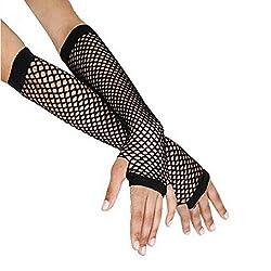 DOLDOA Punk Goth Lady Disco Dance Costume Lace Mid-length Burlesque Sleeves Fingerless Mesh Fishnet Gloves