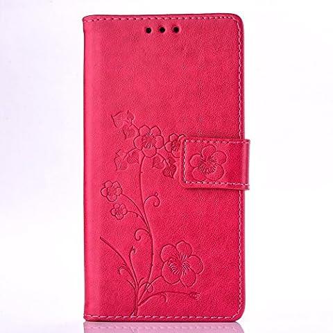 Sony Xperia Z5 Premium / Z5 Plus / Z5P Étui en Cuir, Ecoway Étui En Cuir PU Style Rétro Cinq feuilles fleurs Embossage La Fente en de Support Pliable Pour Sony Xperia Z5 Premium / Z5 Plus / Z5P(écarlate)