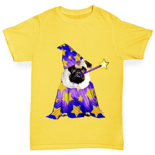 TWISTED ENVY Mädchen T-Shirt Wizard Pug Print Age 12-14 Gelb