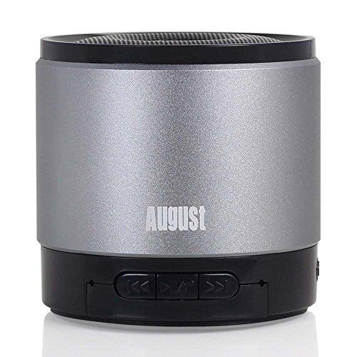 August MS425 – Mobiler Bluetooth v4.0 Lautsprecher mit Mikrofon – Schnurloser Speaker und Freisprecheinrichtung für Smartphones und Handys (silber) - 3