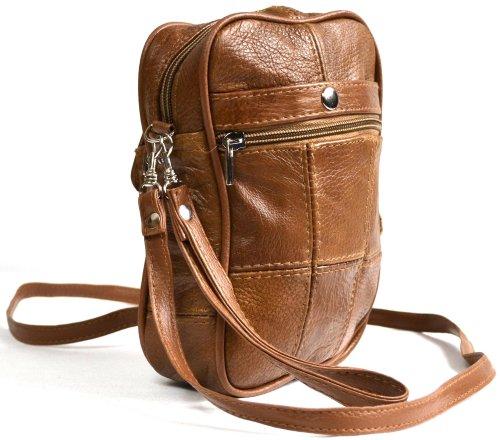 Umhängetasche aus echtem Leder mit mehreren Reißverschlusstaschen und Fach für Handy oder Brille (hellbraun, rot, schwarz) Hellbraun