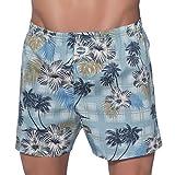 D.E.A.L International Boxershorts Blau mit Hawaii Blüten SizeMap Large
