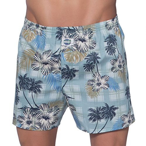 D.E.A.L International Boxershorts Blau mit Hawaii Blüten Size XL