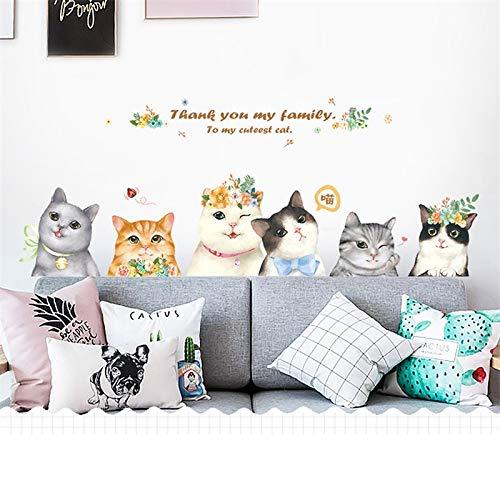 Niedlichen Cartoon Katze Weibliche Schlafzimmer Baby Zimmer Tier Dekoration Frauen Mädchen Wohnkultur Tür Aufkleber Wandaufkleber PVC Wandtattoos 63 * 162 cm