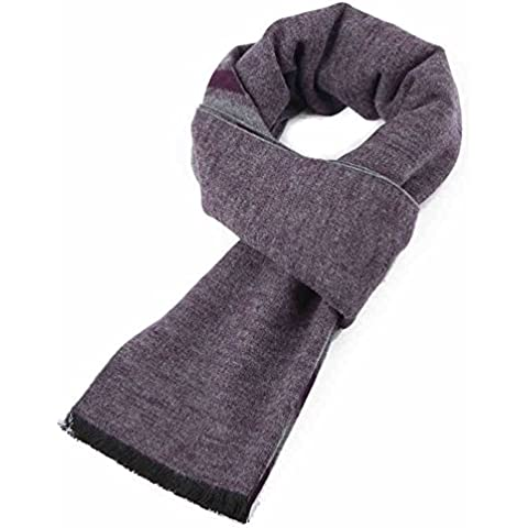 Invierno hombres calientes 's bufanda, moda rayada púrpura de seda de mora de la bufanda de cepillado