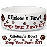 Clicker 's Schüssel–Keep Your Paws Off. Personalisiert Name Keramik Pet Futternapf–2Größen erhältlich
