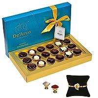 De'Arco Chocolatier Premium Luxurious Rakhi Gift Chocolate Box, Dark Chocolate Gift Hamper for Brother, 18pcs + Free Rakhi + Free Roli Chawal