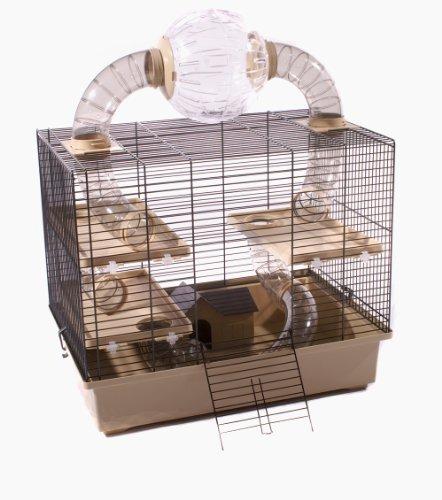 Nagerkäfig Hamsterkäfig Mäusekäfig Kleintier Käfig INKLUSIVE LAUFBALL und umfangreicher Ausstattung OSKAR BEIGE