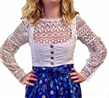 Bluse, Dirndlbluse, Kann auch ohne Dirndl getragen werden, weiß, Baumwolle, Spitze, Gr. M/L, 36/38, lange Ärmel, super modern, tolles Geschenk, kurze Bluse, extravagant, Tracht, Trachtenbluse