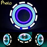 #8: Pivalo Projector Lamp High Intensity LED Headlight Stylish Dual Ring COB Inside Double Angel's Eye Ring Lens Projector For - All Bikes (White & Blue)