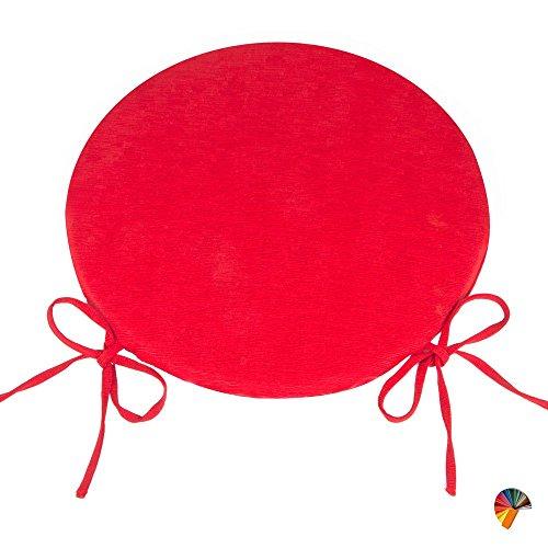 Arketicom (set 4 pz) cuscini sedie cucina rotondi sfoderabili con alette lacci laccetti cotone poliestere copri sedia tondo (cuscino casa giardino) personalizzabili cm 40x40 spessore 3 cm tessuto policotone cannettato rosso