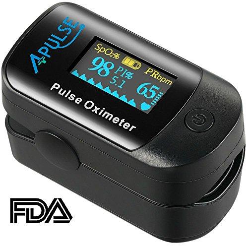 APULSE Pulsoximeter, Messgerät für Blutsauerstoffsättigung für die Fingerspitze mit Infrarotoptik und OLED Display für Puls in Wellenform, PI-Messgerät, Ideal für alle Hauttypen (Schwarz)