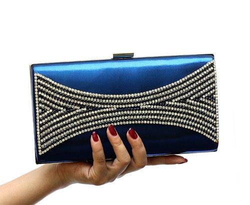 H:oter Frauen u. Mädchen Eleganz & Abschlussball-Partei-Abendhandtasche mit Kristall magischen Ring Griff, Handtasche, Geschenkideen - verschiedene Farben, Preis / Stück Sahne