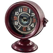 Reloj De Mesa De Forja En Rojo Envejecido