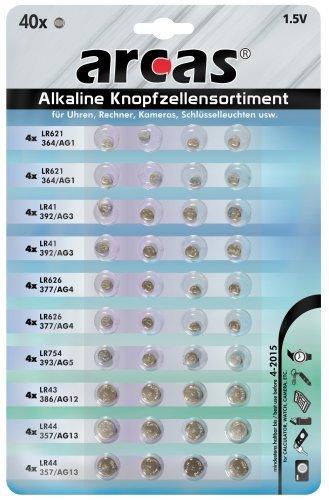 Preisvergleich Produktbild Knopfzellen-Sortiment Alkaline. 40-teilig