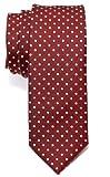 Corbata de microfibra fina con lunares de época tricolor para hombres de Retreez - Rojo burdeos
