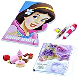 #3: Coi Combo Fancy Snow White Story Book, Lock Diary, Ice Cream Eraser and Injection Pen Pencil, Capsule Style Erasers for Kids.