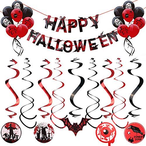 ger,2 Stk Happy Halloween Banner 16 Stk Luftballons Latexballons 18 Stk Hängen Dekoration,für Halloween Cosplay Partei Dekoration ()