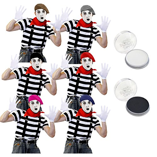 ILOVEFANCYDRESS Pantomime Mime Clown KOSTÜM VERKLEIDUNGS Set