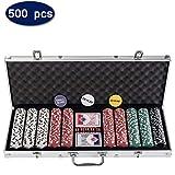 D4P Display4top Super Set da Poker - 500 Chips Laser da 12 Grammi con Centro in Metallo,2 mazzi di Carte, mazziere, Piccoli ciechi, Grandi Pulsanti ciechi e 5 Dadi (500 Chips)