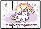 Einhorn 12er-Set Unicorn Einladungskarten Kindergeburtstag Einladung Girls Mädchen Kinder Rosa Geburtstag lustig witzig ausgefallen Girls Teens Erwachsene Regenbogen