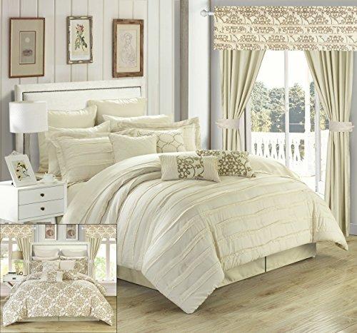 Chic Home 24Stück Hailee komplett Plissee Rüschen und beidseitig bedruckt Bett in einem Beutel Tröster Set mit Fenster Behandlung, King, beige