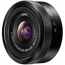 Panasonic Lumix Objectif Zoom Standard pour capteur micro 4/3 12-32mm F3.5-5.6 H-FS12032E-K (Grand angle 12mm, Stabilisé, Zoom Polyvalent, equiv. 35mm : 24-64mm) Noir - Version Française