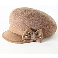 RY Sombrero de dama Hat - Ladies Casual Joker Cap Blend Wool Cap British Ms. Beret (4 Colores) (Color : Brown)